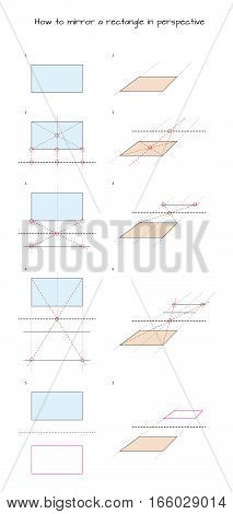 Infographic for designers How to mirror a rectangle in perspective isolated on white