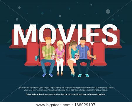 Movies concept illustration of young people sitting on the cinema and enjoy the film. Flat illustration of two couples watching movie and big letters behind them