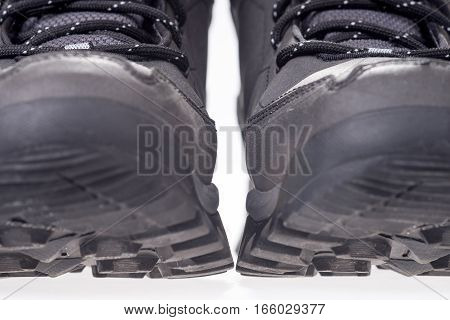 Gray winter shoe with grippy running sole