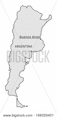 Argentina silhouette map with Buenos Aires capital isolated on white