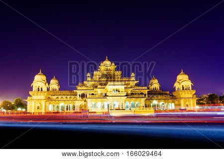 Albert hall a famous landmark of jaipur at night. This is a very popular tourist destination and a musem of traditional items