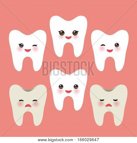 Smiling tooth with pink cheeks. dirty ill and joy healthy teeth. For children illustrations, medcine care, images etc. in pink background. Vector illustration