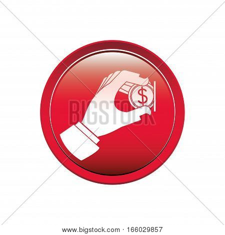 circular button with warning sign insert coin . Vector illustration