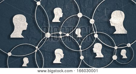 Human Communication Background. Modern brochure or web banner design template. Connected circles with dots. Medical and sociology background. Social network. Grunge texture