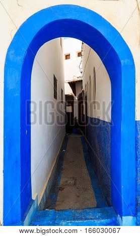 Arch In The Small Streets In Blue And White In The Kasbah Of The Old City Rabat In Marocco