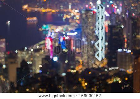 Blurred bokeh lights night Hong Kong office building night view
