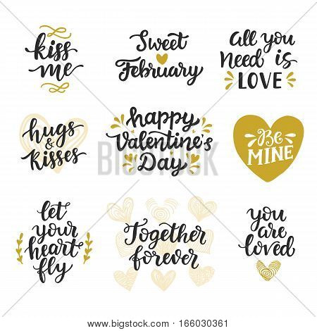 Love hand drawn quotes collection. Valentines day romantic phrases set. Handwritten brush lettering. Modern calligraphy Hugs and Kisses, Love is in the Air, Sweet February. Be Mine. Kiss Me.
