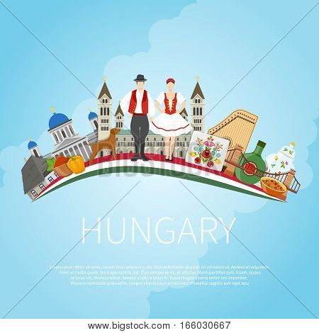 Hungary travel concept with flat composition of traditional folk art architecture buildings and editable text field vector illustration