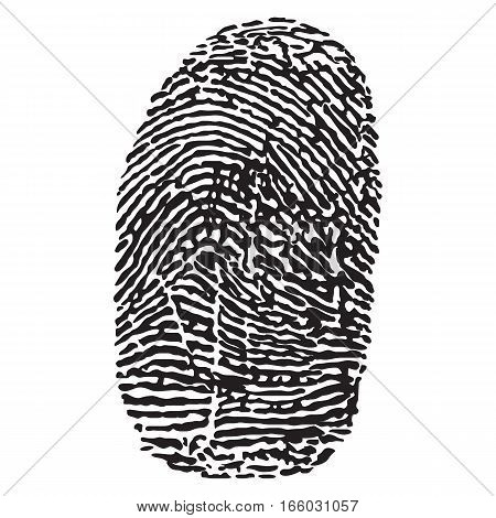 Black silhouette of fingerprint vector illustration.  fingerprint scan
