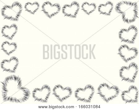 beautiful frame of hearts on a white background