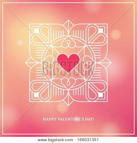 Valentine's day Mother's day Women's day wedding and love banner poster or greeting card design concept with linear heart frame on bright blurred background