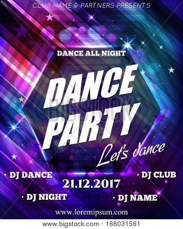 Night Dance Party Poster Background Template. Festival Vector mockup. DJ poster design.  Vector illustration