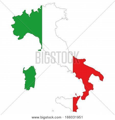Map Of Italy. The silhouette of the flag of Italy. Original abstract vector illustration.