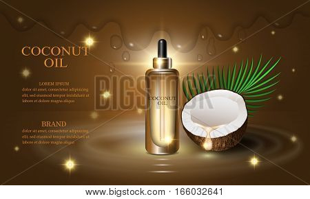 Cosmetics beauty series premium coconut oil cream for skin care. Template for design poster placard presentation banners covers vector illustration.