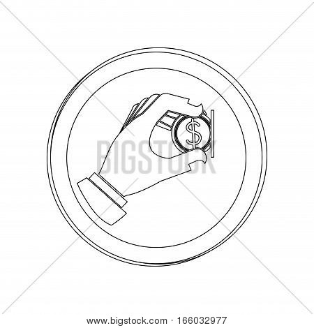 silhouette circular contour road sign with warning sign insert coin vector illustration