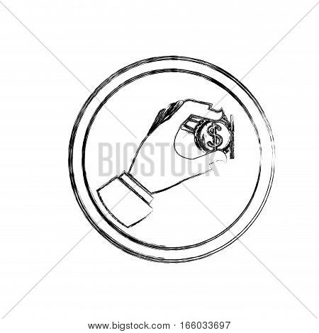 silhouette blurred with warning sign insert coin icon flat vector illustration