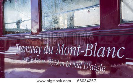 Saint-Gervais France - December 302014: Close-up of the inscription
