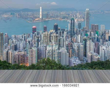 Opening wooden floor aerial view Hong Kong city office building central business downtown