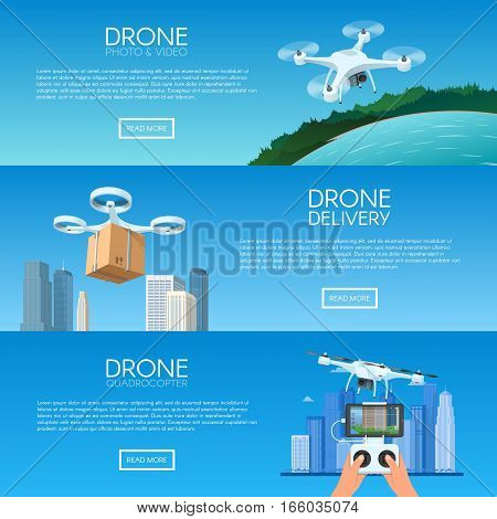 Drone with remote control flying over city. Pizza delivery by quadcopter. Aerial drone with camera taking photography and video concept vector illustration.