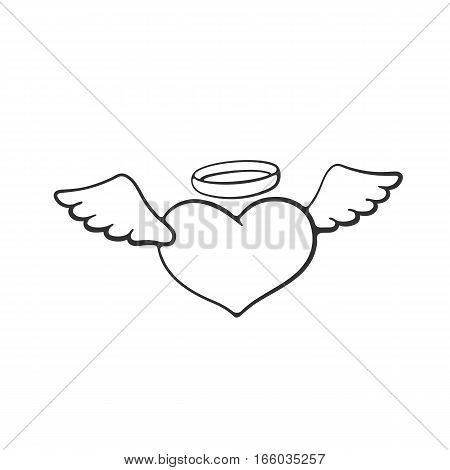 Vector illustration. Valentine's Day symbol. Angel heart with wings and a halo. Hand drawn doodle. Cartoon sketch. Decoration for greeting cards, posters, emblems