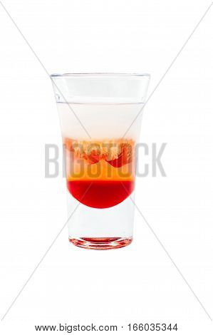 sliced shot cocktail isolated on white background.