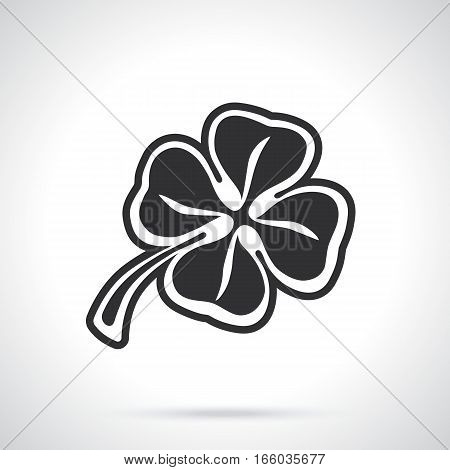 Vector illustration. Silhouette of four leaf clover. Lucky quatrefoil. Good luck symbol. Decoration for greeting cards, posters, emblems
