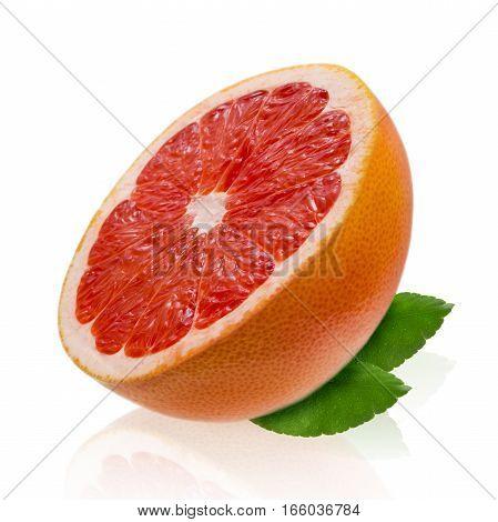 Pink grapefruit isolated on white background close-up