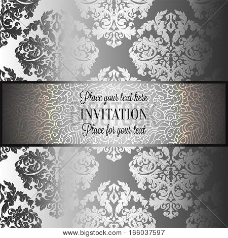 Baroque Background With Antique, Luxury Gray And Silver Vintage Frame, Victorian Banner, Damask Flor