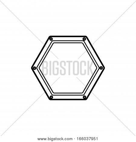 silhouette hexagon shape of road sign vector illustration