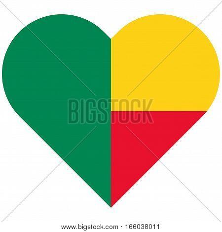 Benin Flat Heart Flag