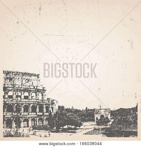 Hand drawn illustration of Rome. Coliseum. Vector