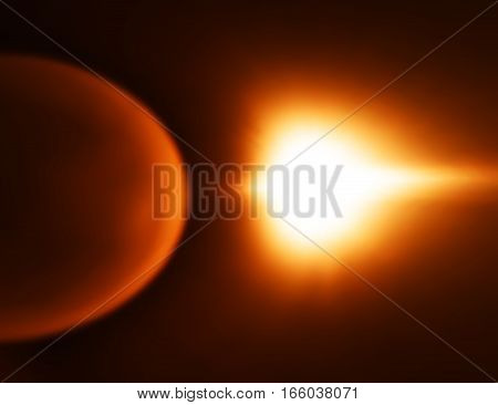 Orange space planet with light leak bokeh background hd