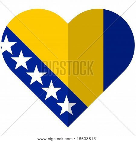 Bosnia And Herzegovina Flat Heart Flag