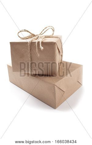 two cardboard boxes for delivery on a isolated white background