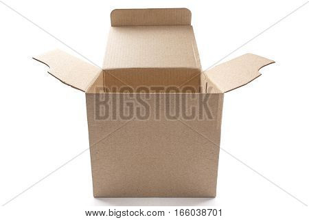 Big open cardboard box on isolated white background with shadow