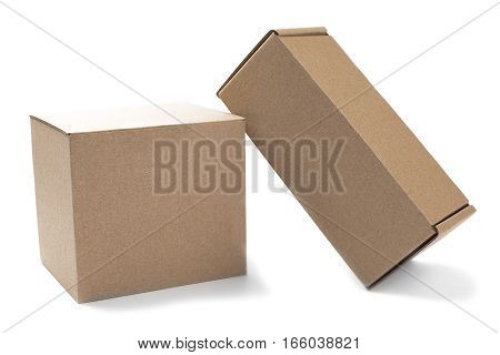 Two cardboard boxes for mail on isolated white background
