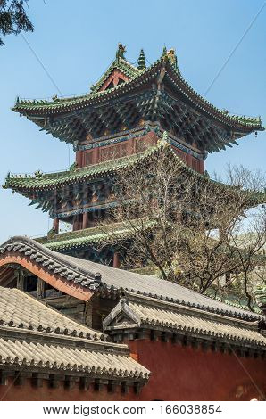 China the Shaolin Monastery. One of the watch towers of the monastery for more than thirty meters in height.
