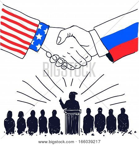 Handshake Friendship Partnership USA and Russia friendship and businessmen silhouettes, hand drawn sketch, isolated vector graphic design