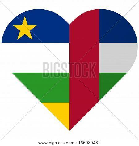 Central African Republic Flat Heart Flag