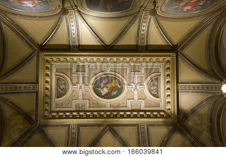 VIENNA, AUSTRIA - JANUARY 2 2016: Architectural close up of the ceiling of Vienna Opera House in Vienna