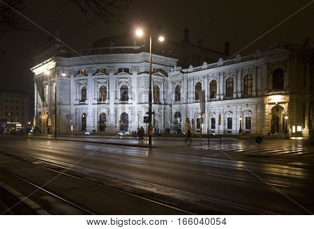 VIENNA, AUSTRIA - JANUARY 2 2016: Night view of viennese Burgtheatre on Ringstrasse Vienna