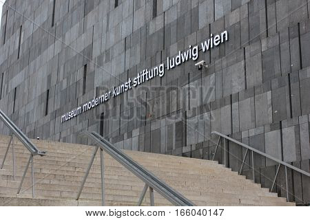 VIENNA, AUSTRIA - JANUARY 3 2016: Architectural close up of the facade and staircase of Mumok museum in Vienna the museum of modern art