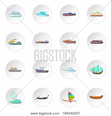Ship and boat icons set in white circle isolated on white background. Cartoon vector illustration