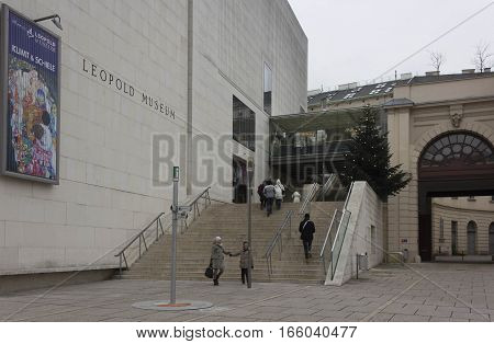 VIENNA, AUSTRIA - JANUARY 3 2016: Museum district in Vienna with the entrance staircase of Leopold museum and few people around