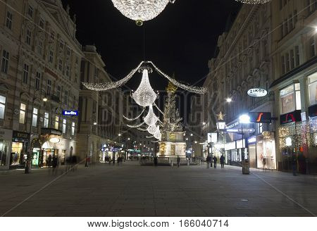 VIENNA, AUSTRIA - JANUARY 3 2016: Night view of Graben Street in Vienna at night time long exposure shot