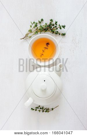 Thyme herbal tea view from high angle vertical orientation