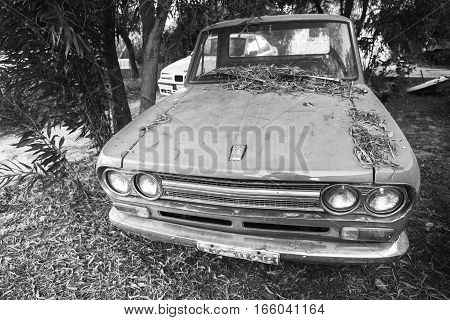 Front View Of Old Datsun 1300 Pickup