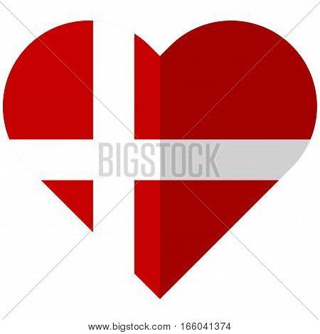 Denmark Flat Heart Flag