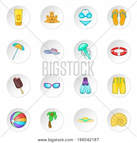 Sea tour icons set. Cartoon illustration of 16 sea tour vector icons for web