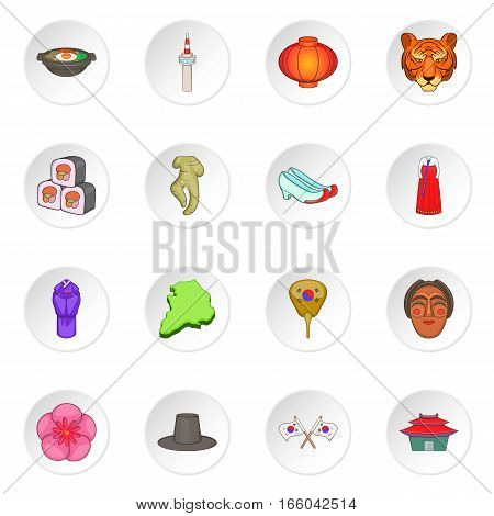 South Korea icons set. Cartoon illustration of 16 South Korea vector icons for web